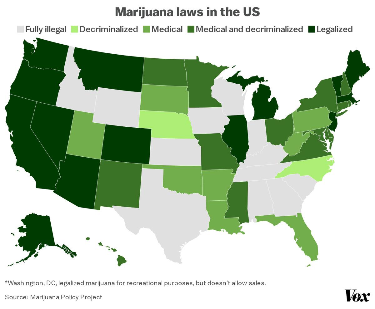 Un mapa de las leyes sobre la marihuana en los EE. UU.