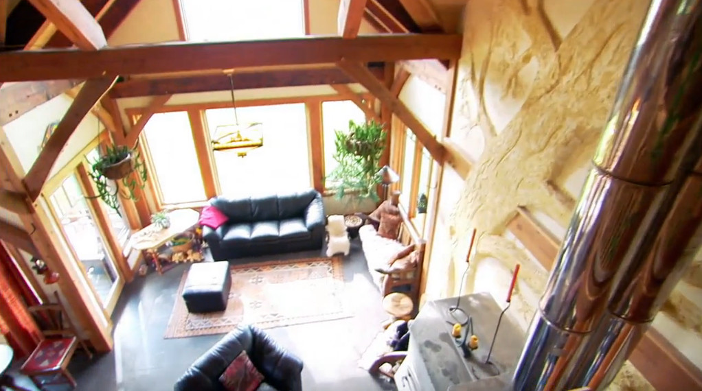 View of the downstairs window from upstairs