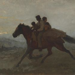 """""""A Ride for Liberty — The Fugitive Slave, March 2, 1862"""" is by artist Eastman Johnson."""