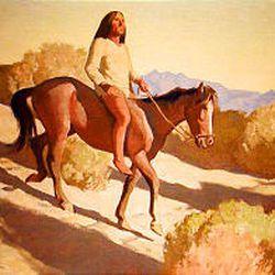 """Pima Indian"" (oil on board, 1940) by Maynard Dixon (1875-1946)."