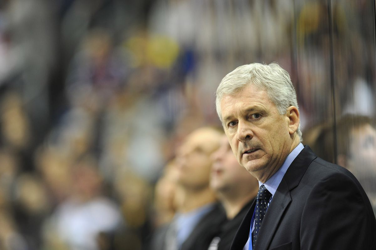 BERLIN, GERMANY - OCTOBER 08:  Terry Murray, head coach of Los Angeles looks on during a friendly match between Buffalo Sabres and Los Angeles Kings at O2 World on October 8, 2011 in Berlin, Germany.  (Photo by Stuart Franklin/Bongarts/Getty Images)