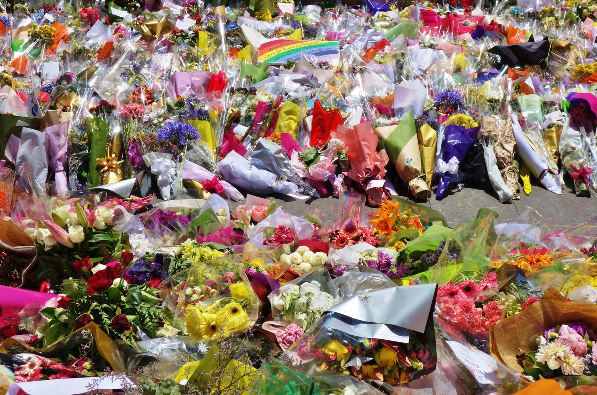 Flowers outside Lindt Cafe