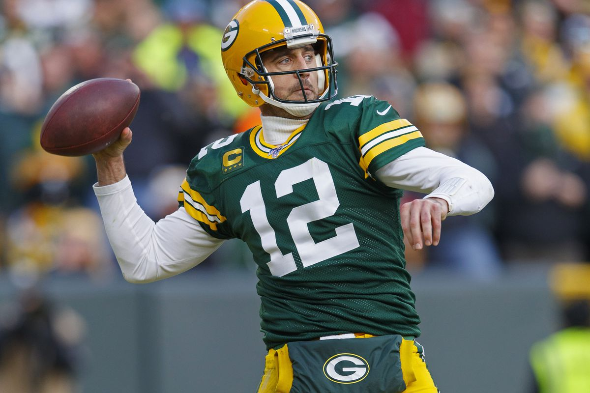 Green Bay Packers quarterback Aaron Rodgers throws a pass during the fourth quarter against the Washington at Lambeau Field.