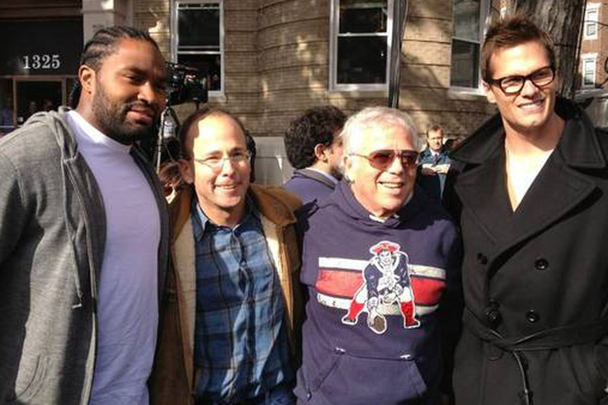 In a land of hoodies, Brady rocks the peacoat. (Photo: @Patriots)