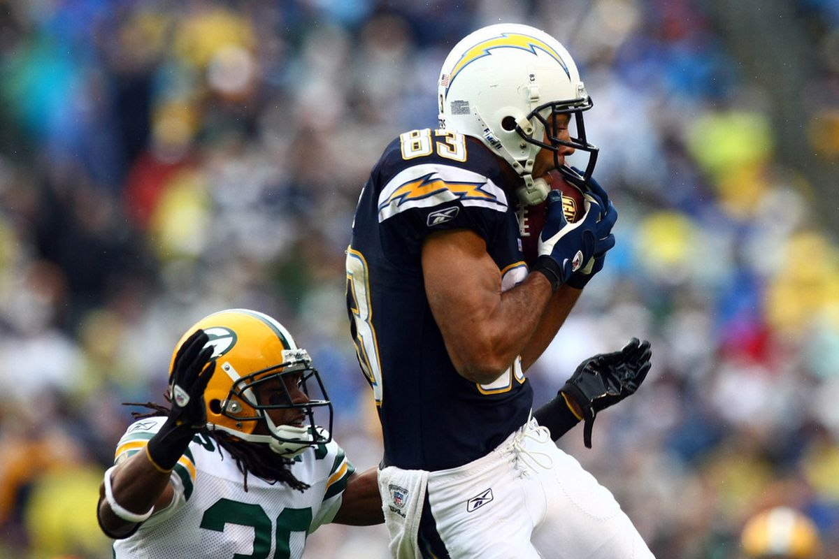 Wide Receiver Vincent Jackson #83 of the San Diego Chargers goes up for a catch in front of Tramon Williams #38 of the Green Bay Packers. (Photo by Donald Miralle/Getty Images)