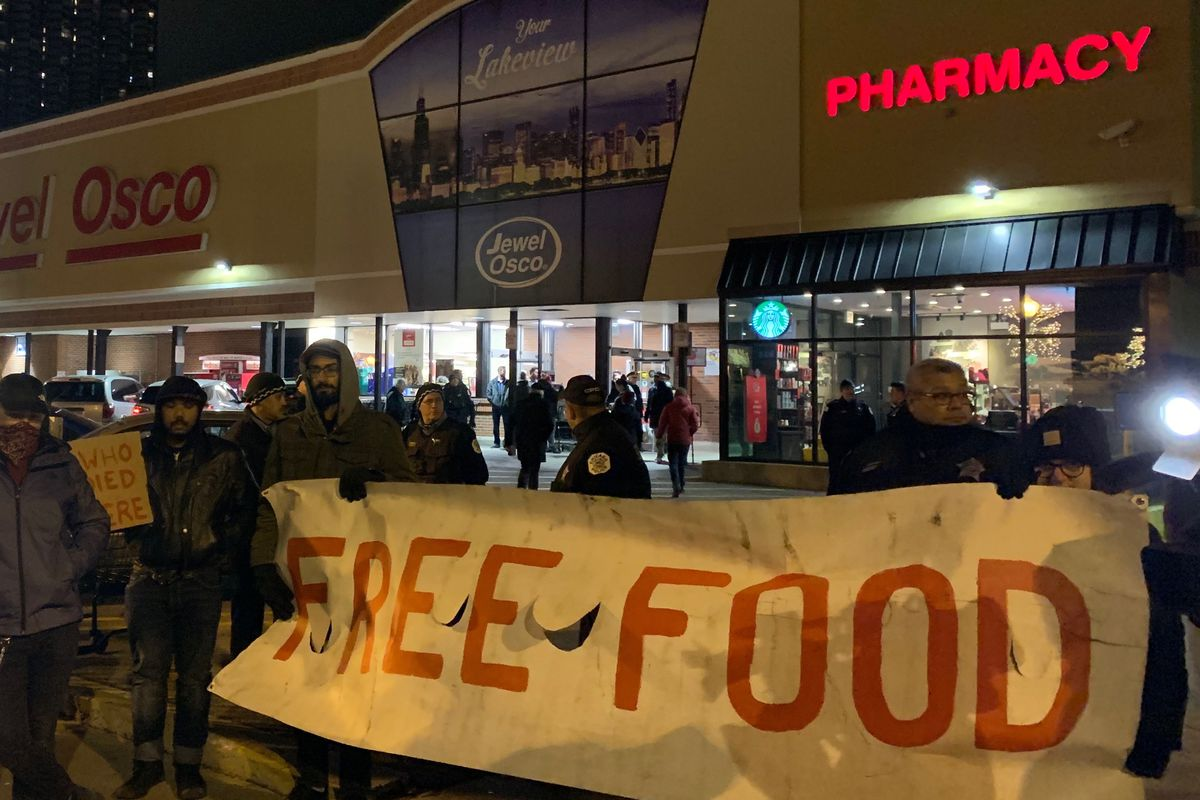 Community activists protested Wednesday outside a Lake View Jewel-Osco where a suspected shoplifter died last week after being detained by the store's security guards.