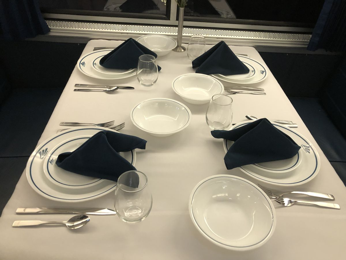 Amtrak's dining cars will once again use metal utensils, with meals served on real china.
