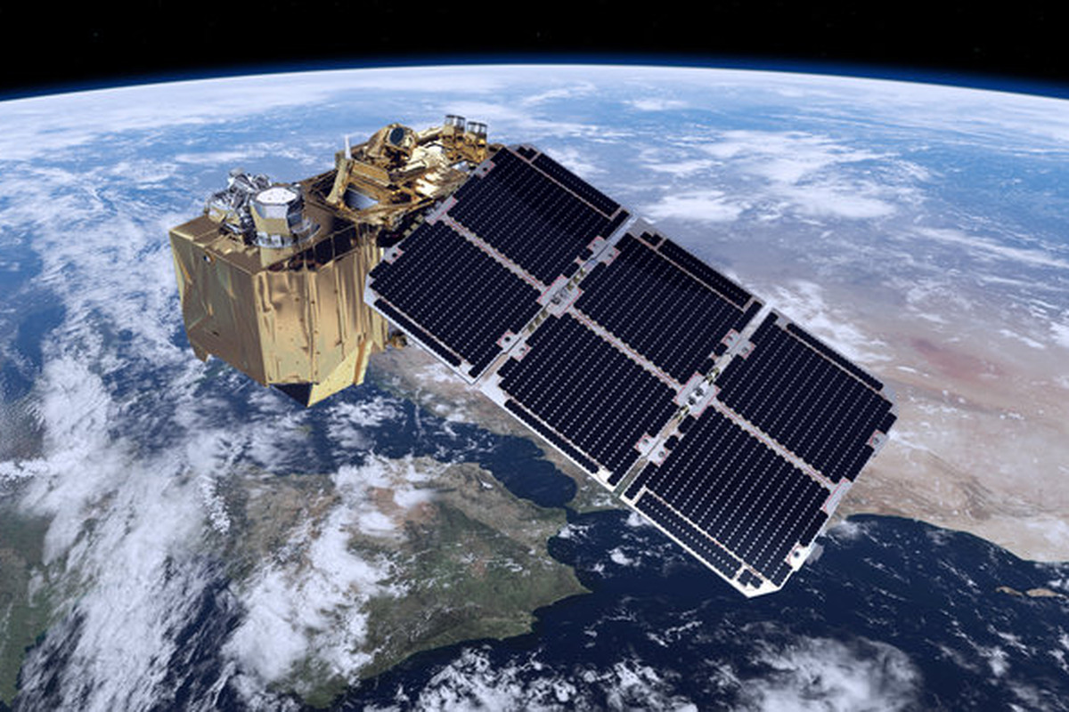 An artist's rendering of the Sentinel satellite in orbit over earth.