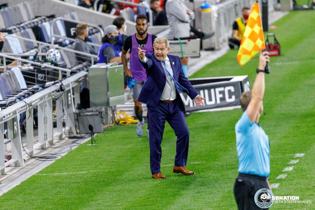 September 6, 2020 - Saint Paul, Minnesota, United States - Minnesota United head coach Adrian Heath shots for a ball during the Minnesota United vs Real Salt Lake match at Allianz Field.