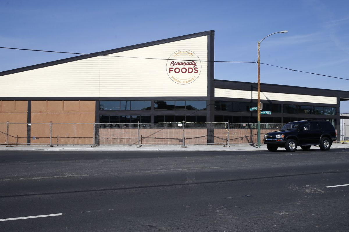 Finishing touches are nearing completion at the new Community Foods Market on San Pablo Avenue in Oakland, Calif. on Friday, April 26, 2019. The new grocery store, which will also serve as a gathering space for the community, will be the first full servic
