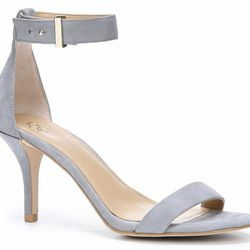 """<b>Ann Taylor</b> Geri Suede Ankle Strap Heels in Platinum, <a href=""""http://www.anntaylor.com/geri-suede-ankle-strap-heels/333325?colorExplode=false&skuId=15511317&catid=cat810060&productPageType=fullPriceProducts&defaultColor=1392"""">$128</a>"""