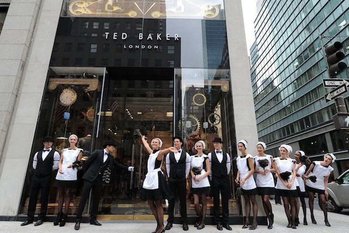 """A <a href=""""http://ny.racked.com/archives/2012/08/10/let_an_english_maid_show_you_into_ted_bakers_fifth_ave_store.php"""">previous</a> Ted Baker event."""