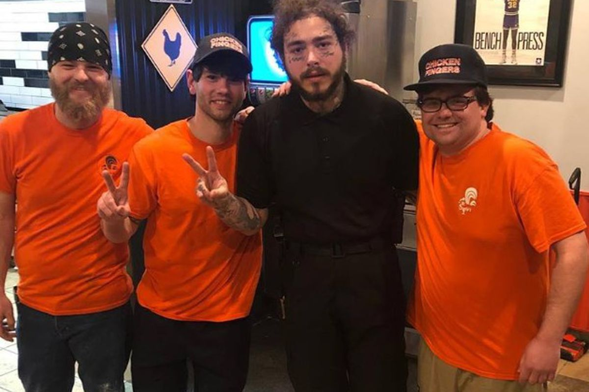 Rapper Post Malone briefly appeared at Mr. Charlie's Chicken Fingers in Murray earlier this week.