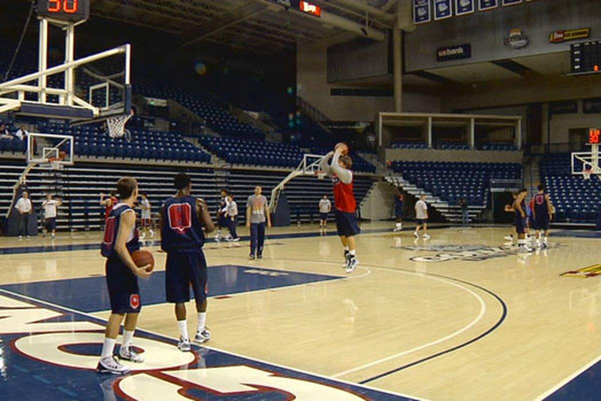 From left to right: David Stockton, Demetri Goodson, and Any Poling (shooting) practice in the McCarthey Athletic Center. (courtesy of SWX Online)