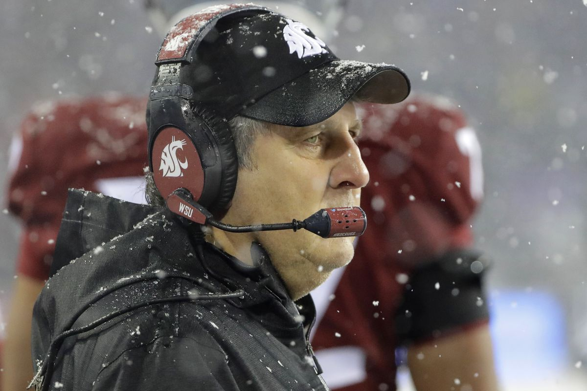 Washington State coach Mike Leach watches from the sideline during game against Washington, Friday, Nov. 23, 2018, in Pullman, Wash.