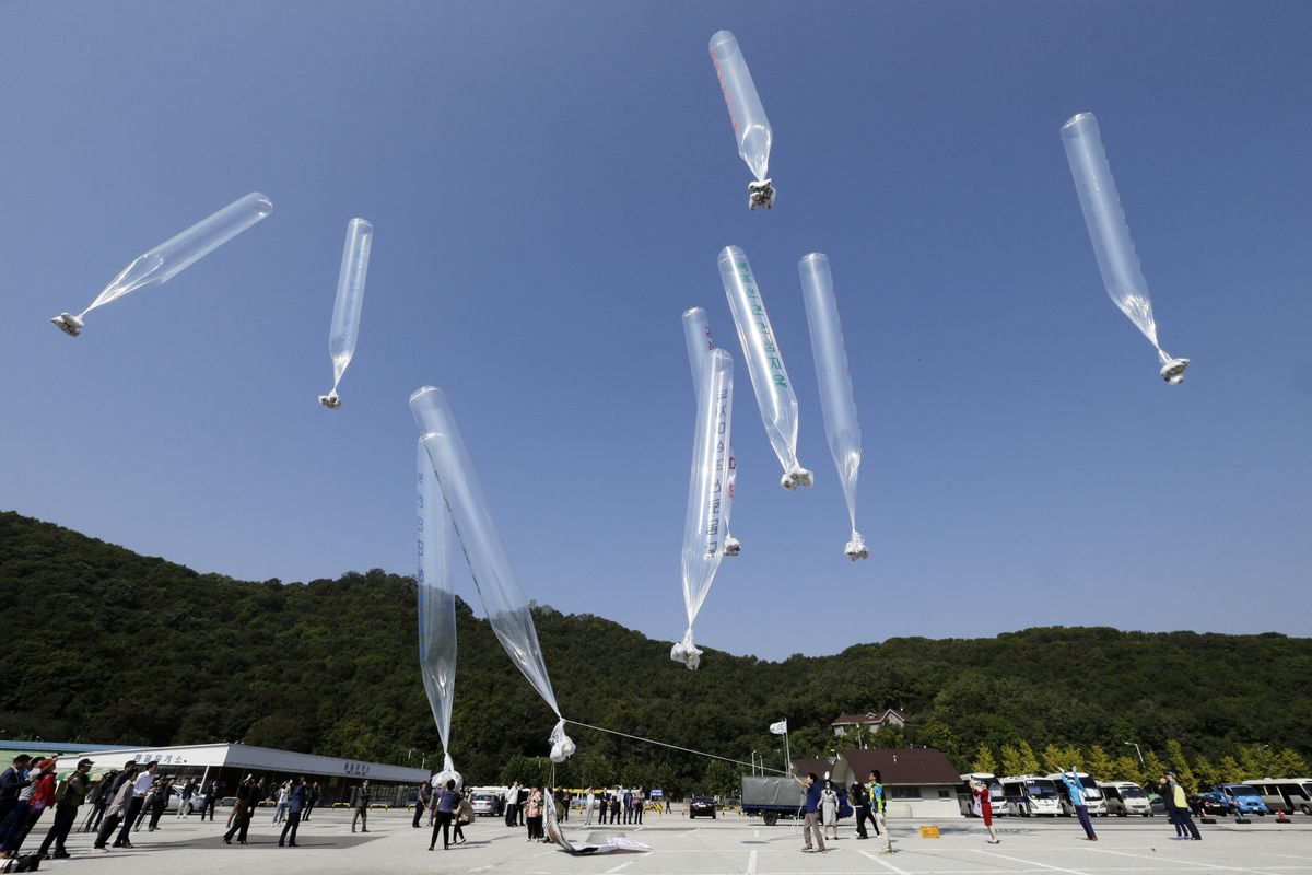 North and South Korea exchange fire over balloons filled
