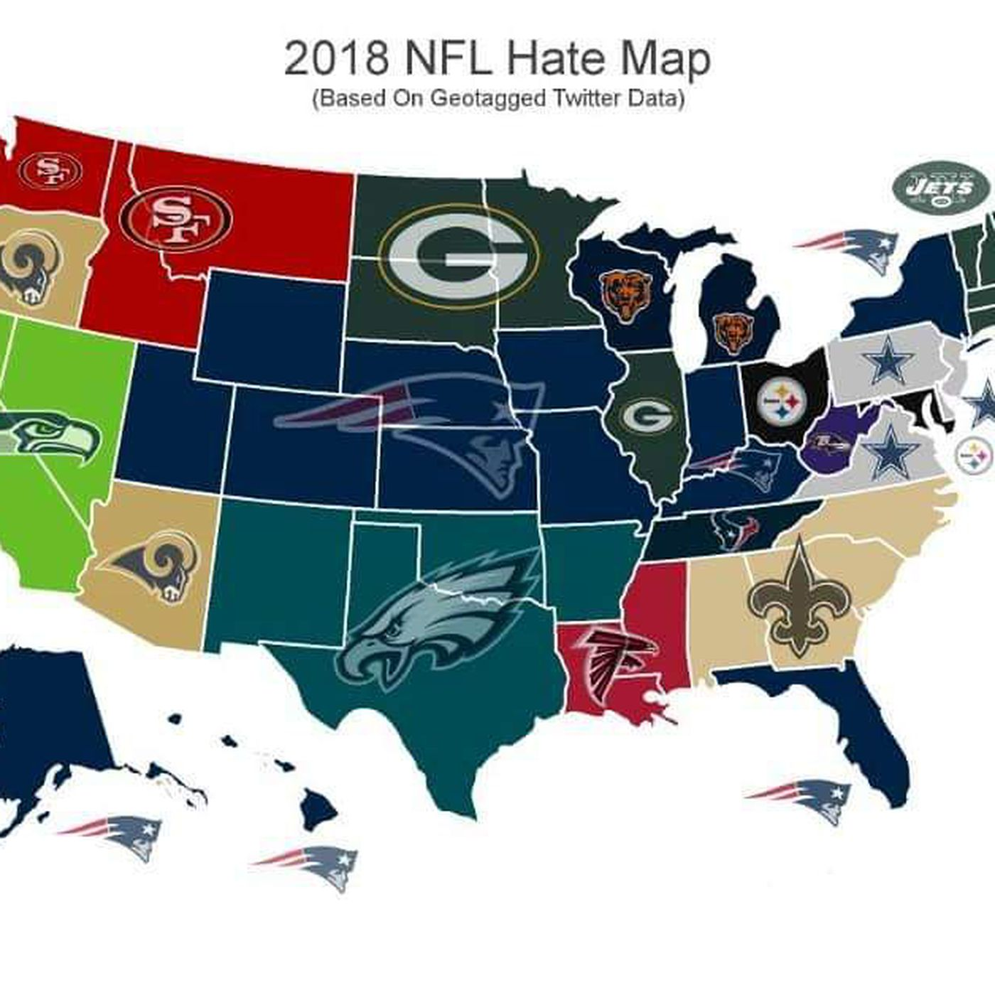 This map shows the Patriots were America's most-d team ... Map Of All Nfl Teams on map of nfl teams in usa, map of all disney, map of favorite nfl teams, map of all mls teams, us map nfl teams, central hockey league teams, us map of baseball teams, map nfl teams by fans, map of all cfl teams, map of nfl stadiums, map of all colleges, map of all mlb, map of all saints, map of all football players, map with nfl team division, map of the nfl, map of all animals, map of nfl teams poster, map of all new england, map of nfl cities,