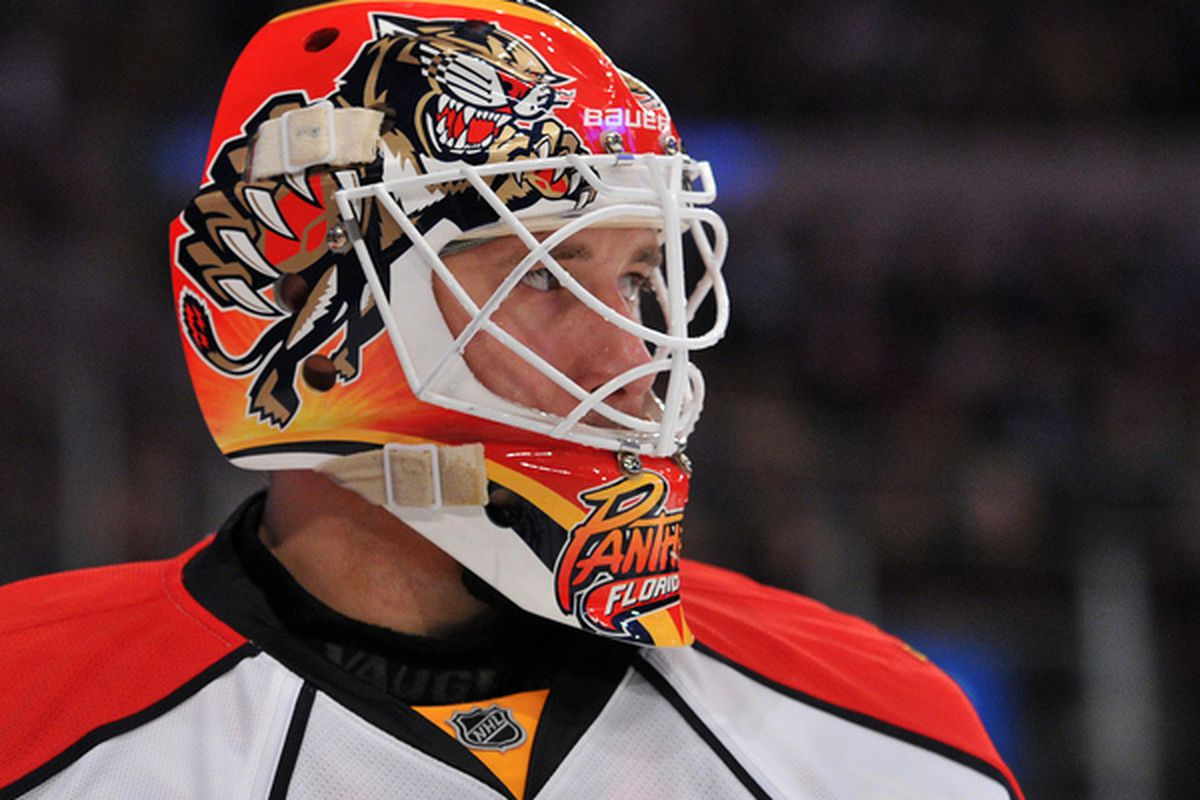 NEW YORK NY - JANUARY 25: Tomas Vokoun #29 of the Florida Panthers looks at the crowd during the second period against the New York Rangers at Madison Square Garden on January 25 2011 in New York City. (Photo by Christopher Pasatieri/Getty Images)