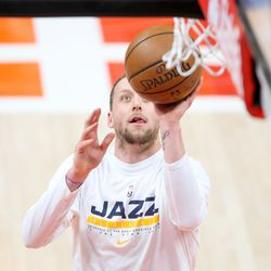 Utah Jazz guard Joe Ingles (2) warms up before playing the LA Clippers in Game 1 of the Western Conference semifinals at Vivint Smart Home Arena in Salt Lake City on Tuesday, June 8, 2021.