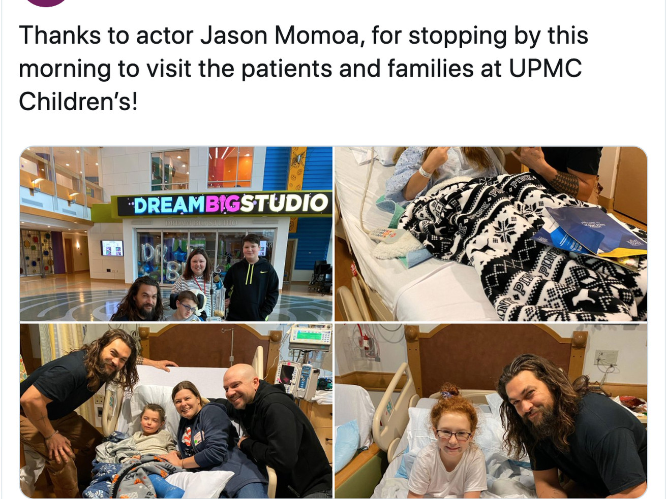 'Aquaman' star Jason Momoa visited a children's hospital. See what he promised one young fan
