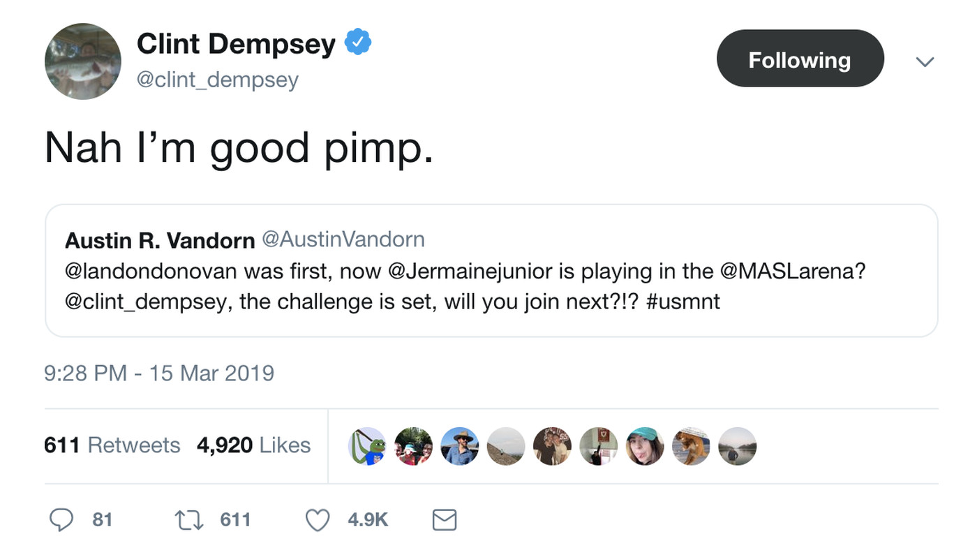 Clint Dempsey just reminding y'all he's retired for real