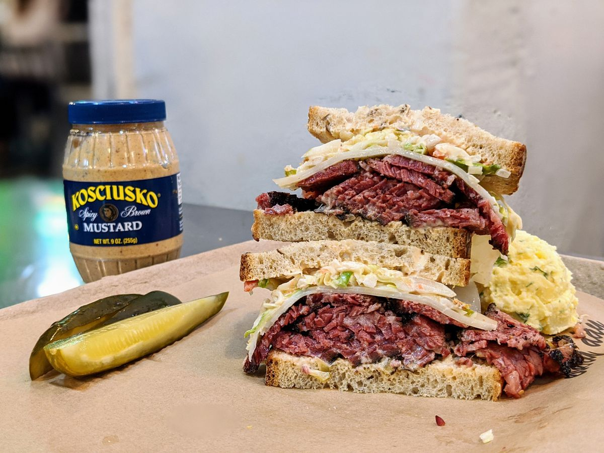 Pastrami sandwich on the a counter at Wexler's.
