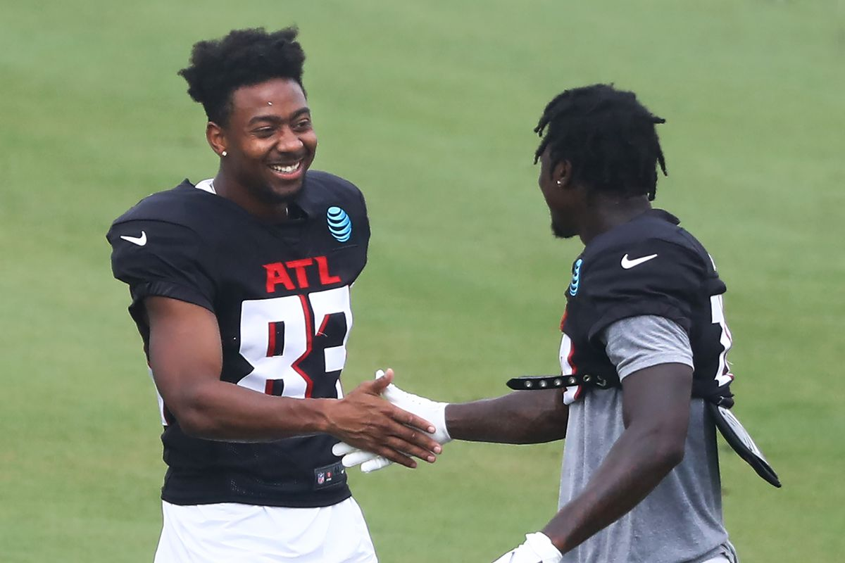 Atlanta Falcons wide receiver Russell Gage (greets wide receiver Calvin Ridley during training camp at the Falcons training facility.