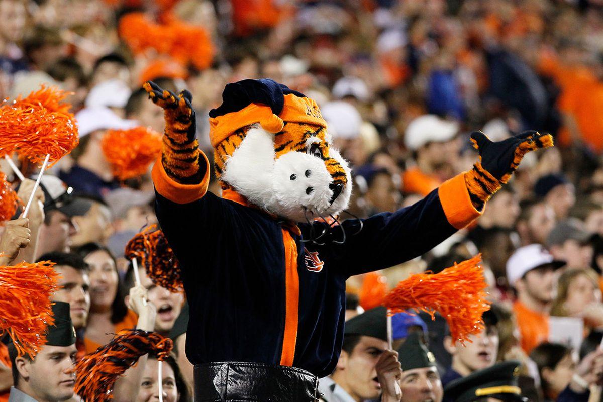 AUBURN, AL - NOVEMBER 26:  Aubbie, mascot of the Auburn Tigers, cheers against the Alabama Crimson Tide at Jordan-Hare Stadium on November 26, 2011 in Auburn, Alabama.  (Photo by Kevin C. Cox/Getty Images)
