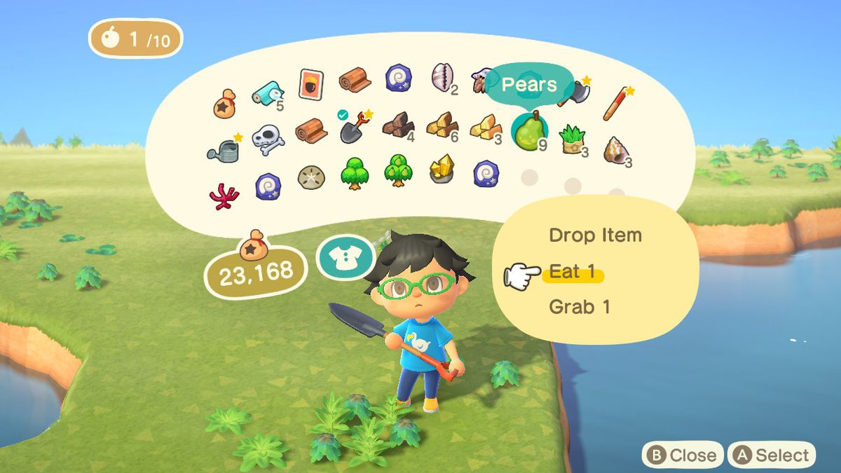 A villager in Animal Crossing: New Horizons looks at their menu screen