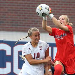 UConn's MaryKate Ward #0 punches the ball out during the UMass Minutewomen vs the UConn Huskies at Morrone Stadium at Rizza Performance Center in an exhibition women's college soccer game in Storrs, CT, Monday, August 9, 2021.