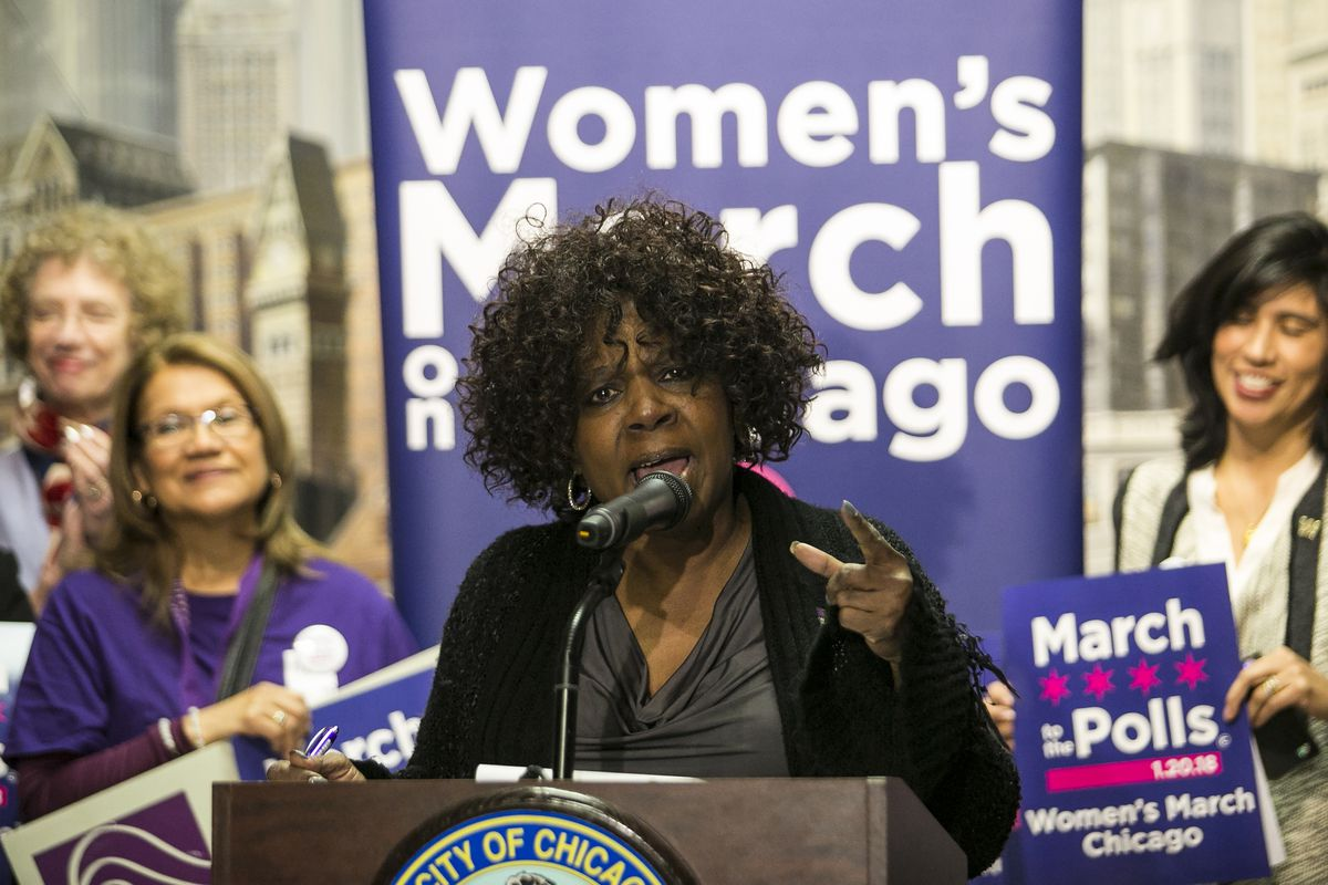 Jaquie Algee, now board president of Women's March Chicago, speaks during a press conference at City Hall to preview the organization's 2018 March to the Polls event on Tuesday, Jan. 16, 2018.