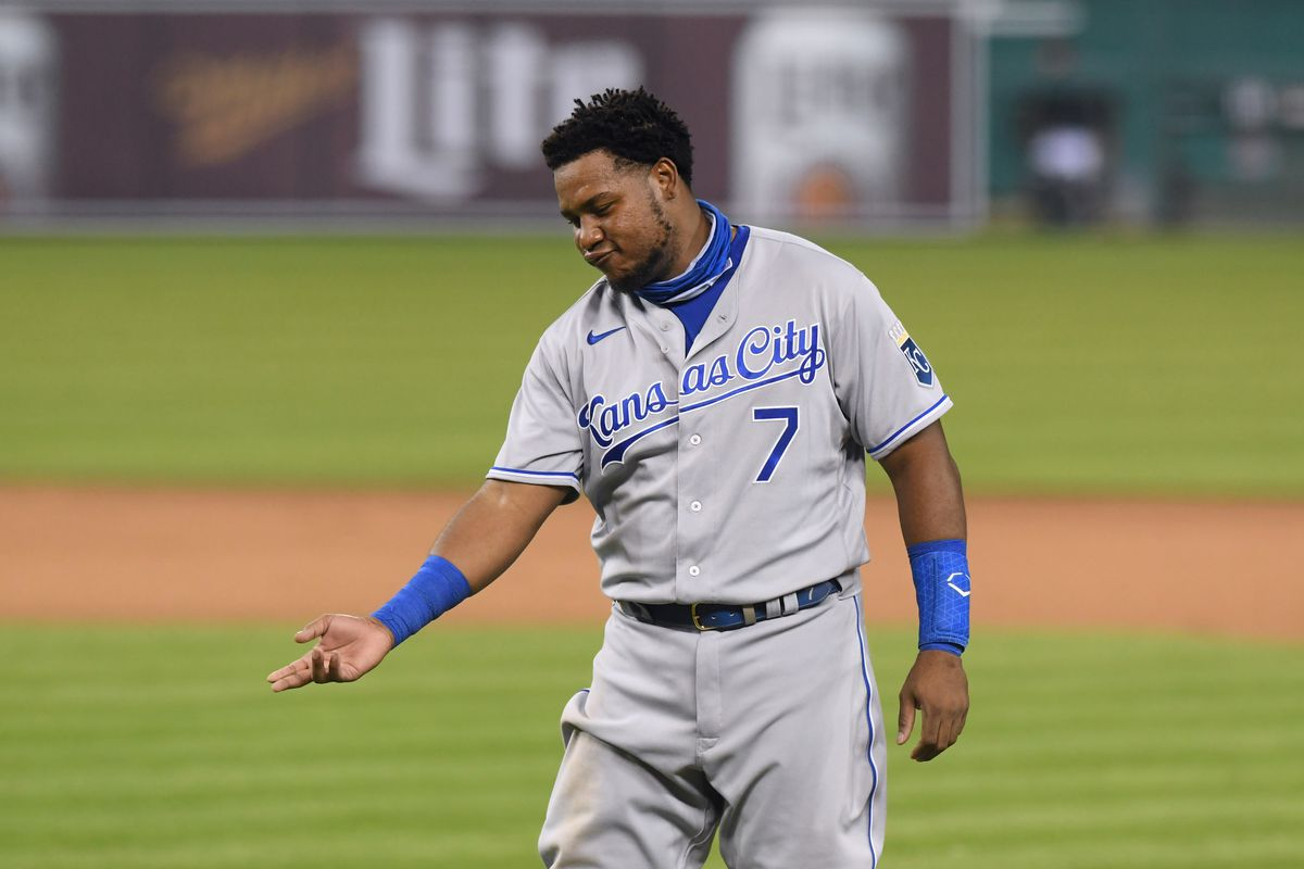 Maikel Franco #7 of the Kansas City Royals looks on during the Opening Day game against the Detroit Tigers at Comerica Park on July 27, 2020 in Detroit, Michigan. The Royals defeated the Tigers 14-6.