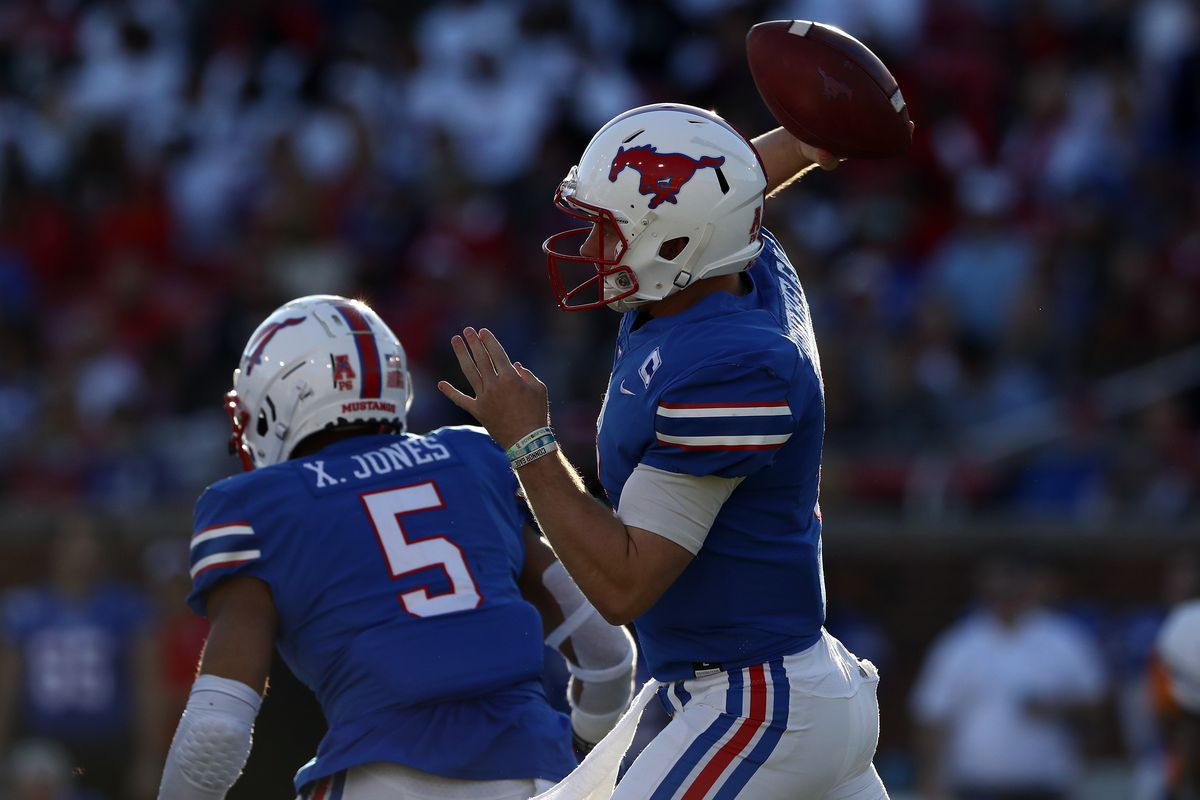 Shane Buechele of the Southern Methodist Mustangs throws against the Tulane Green Wave at Gerald J. Ford Stadium on November 30, 2019 in Dallas, Texas.