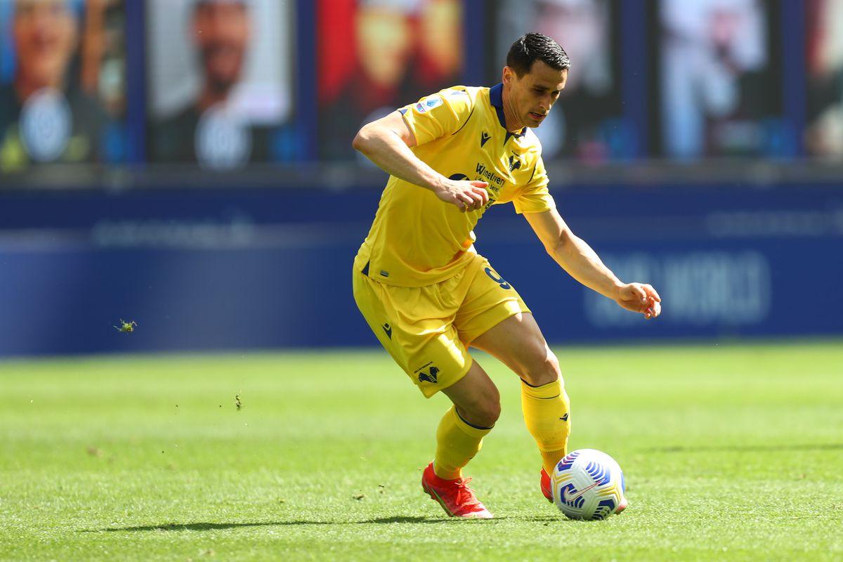 Kevin Lasagna of Hellas Verona Fc in action during the...