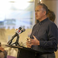 Dave Lindsay, Avalanche Studios president, talks about making a documentary about the airport during a ceremony to mark the 100-year anniversary of the Salt Lake City International Airport in Salt Lake City on Monday, Dec. 21, 2020.