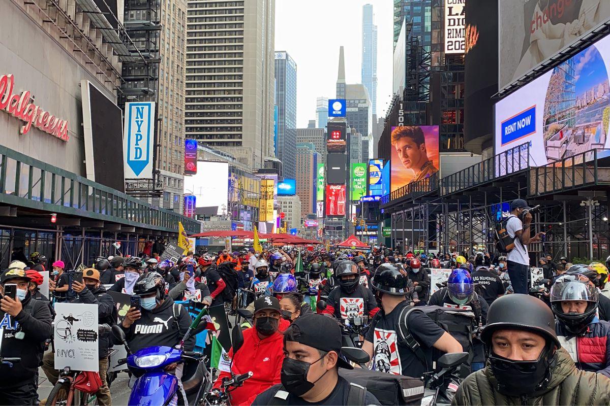 Los Deliveristas Unidos protest in Times Square, April 21, 2021.