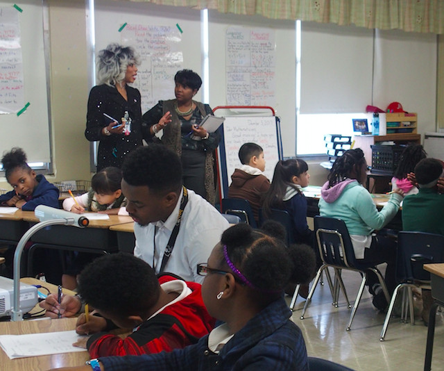 Sharon Griffin confers with a principal coach at Egypt Elementary School in December.