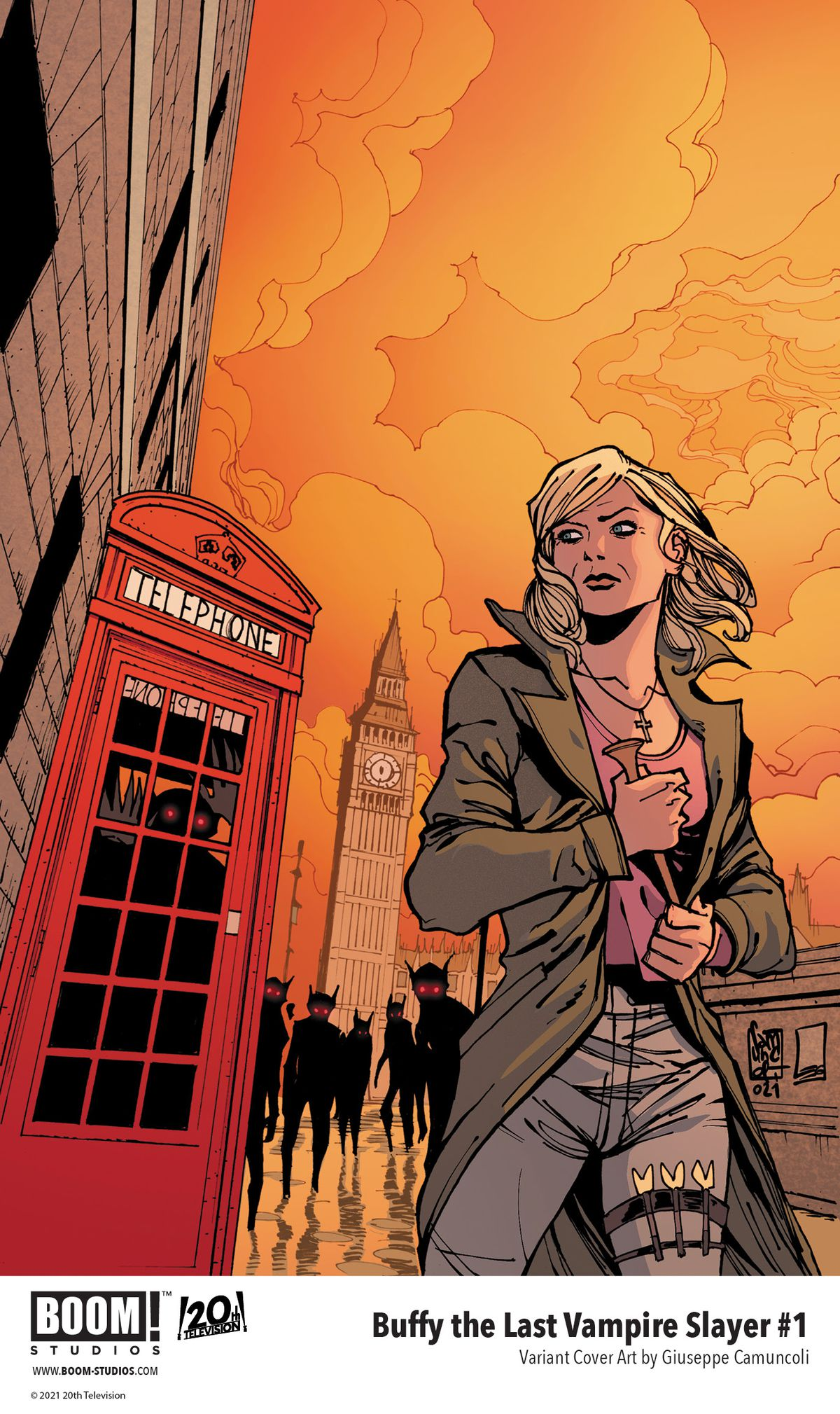 Buffy The Last Vampire Slayer - a variant cover, showing an older Buffy Summers hustle through London as she is stalked by scary vampires.