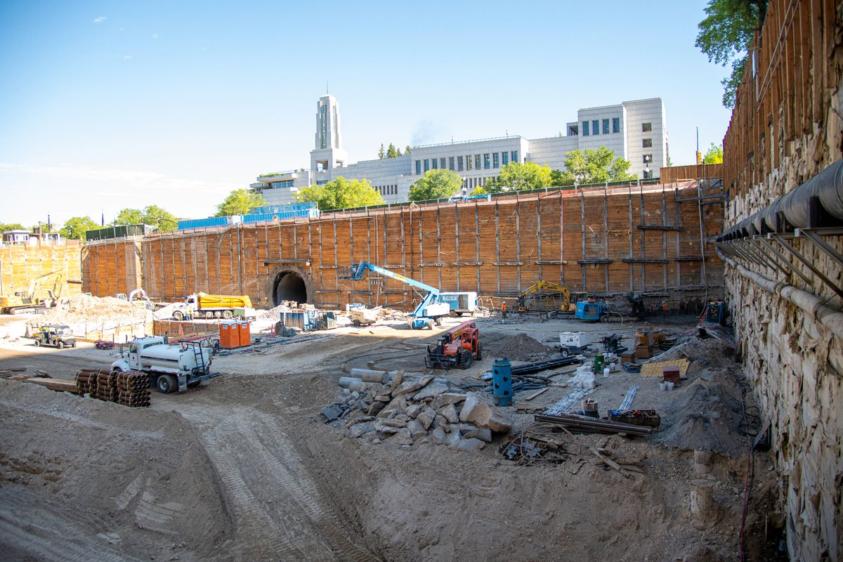 A view of the planking, or lagging, of the excavation at the Salt Lake Temple.