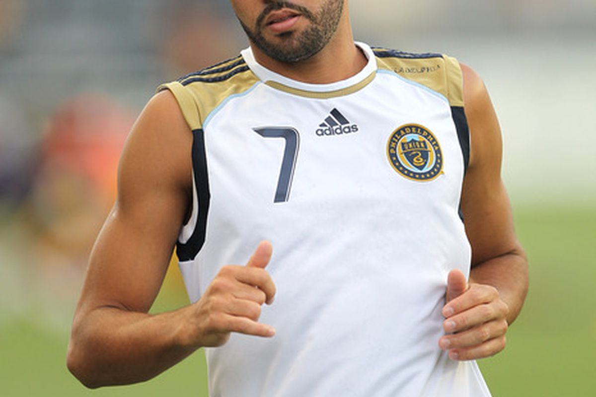 CHESTER PA - AUGUST 11: Midfielder Fred #7 of the Philadelphia Union warms-up before the game against Real Salt Lake at PPL Park on August 11 2010 in Chester Pennsylvania. The game was a 1-1 tie. (Photo by Hunter Martin/Getty Images)