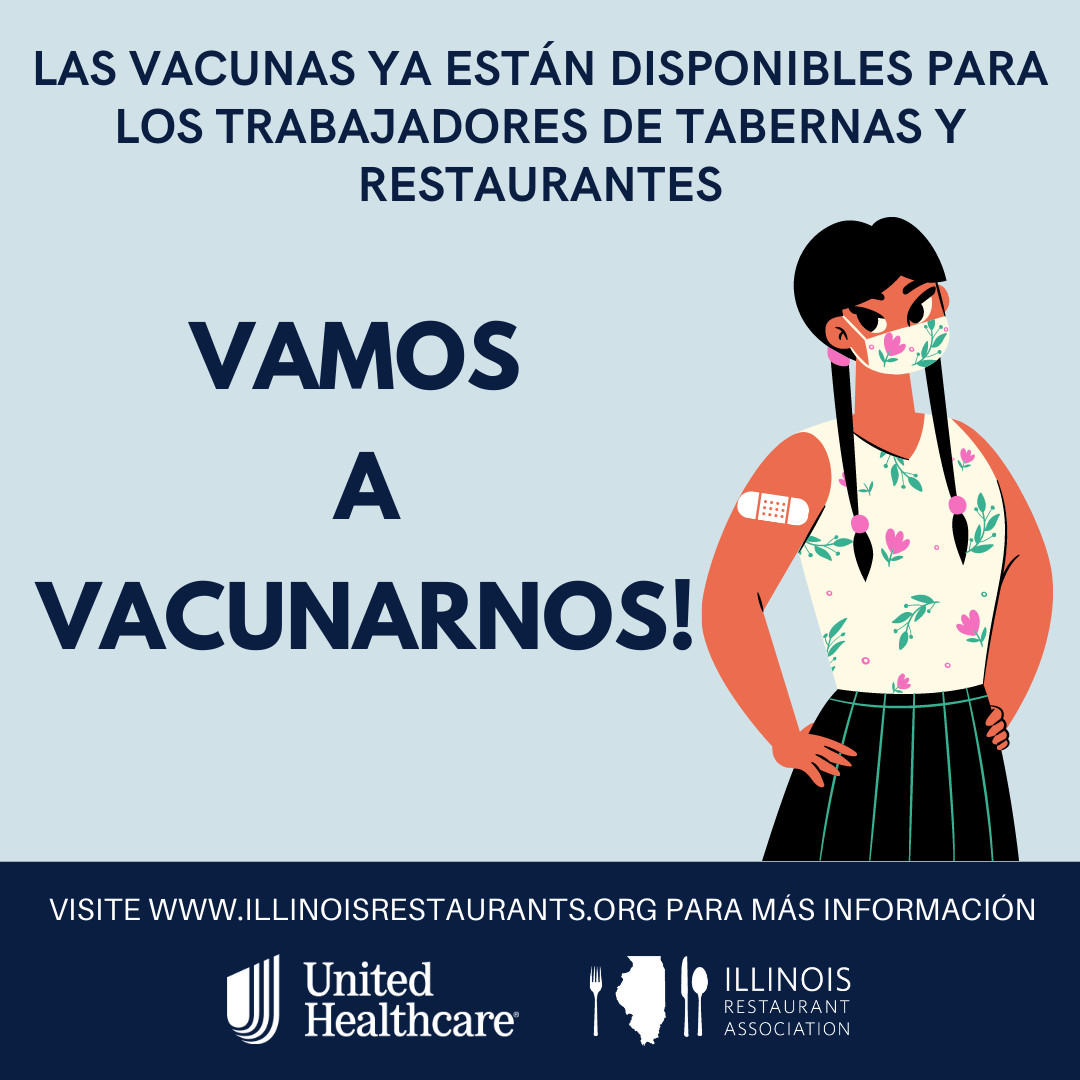 A drawing with Spanish text urging folks to get a COVID-19 vaccine.