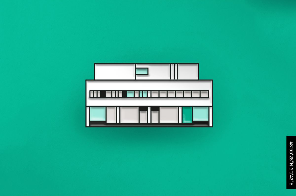 An enamel pin depicting a white modernist house featuring two floors and a rooftop structure. The first level has columns while the second has a ribbon of windows.