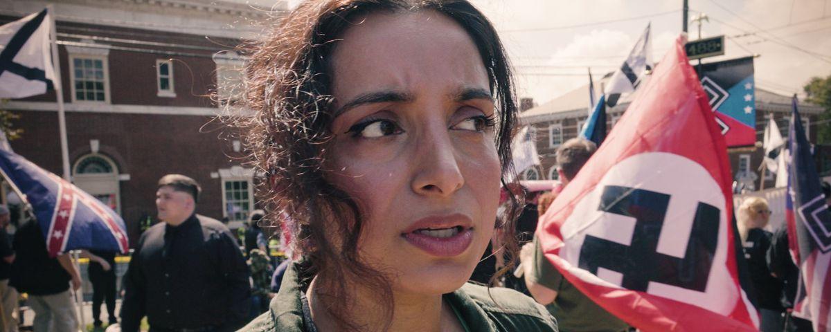"Filmmaker Deeyah Khan at the ""Unite the Right"" rally in Charlottesville, VA - August 12, 2017."