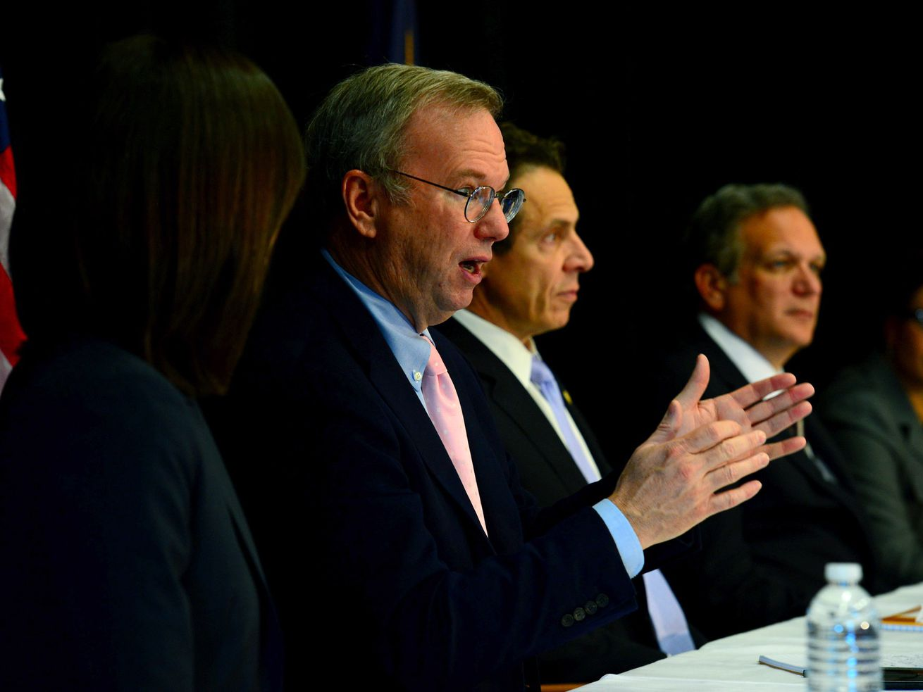 Eric Schmidt speaks next to Andrew Cuomo