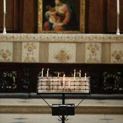 Candles at Christ Church Cathedral, Oxford University, England, on June 14, 2017.