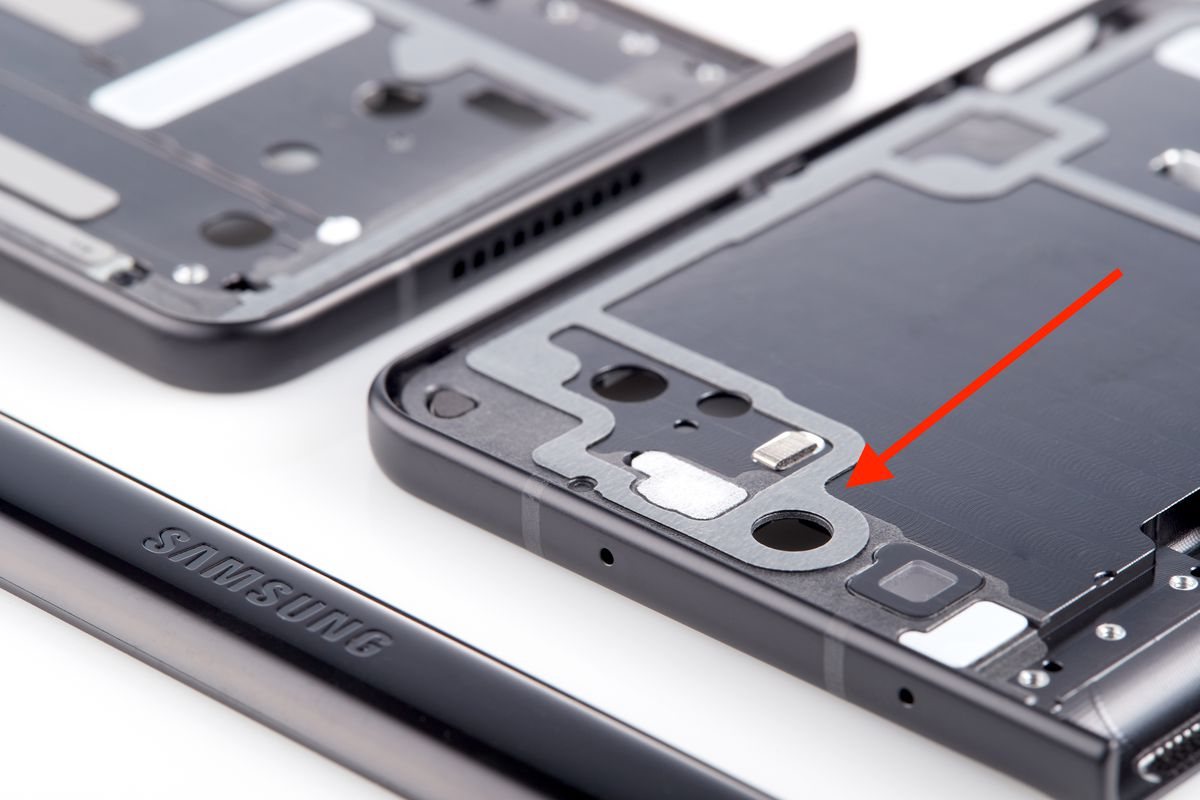 Double-sided tape on a Galaxy Z Fold 3