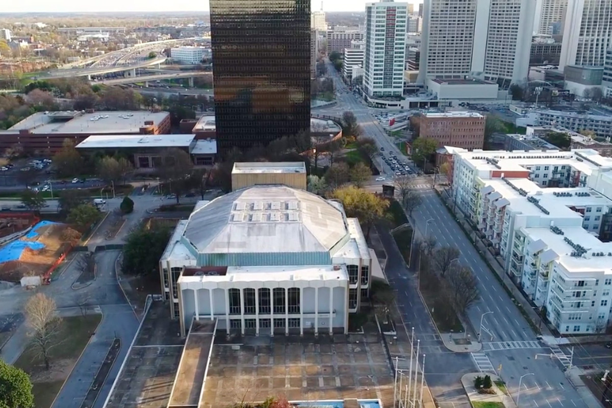 A photo of the 1968 landmark standing where Old Fourth Ward meets downtown.