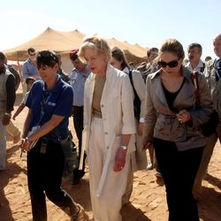 Quentin Bryce, the Australian Governor-General, tours the Zaatari Syrian Refugee Camp, in Mafraq, Jordan, Sunday, Sept. 2, 2012.  Bryce told the press that Australia has contributed 20 million in funds to support the refugees.