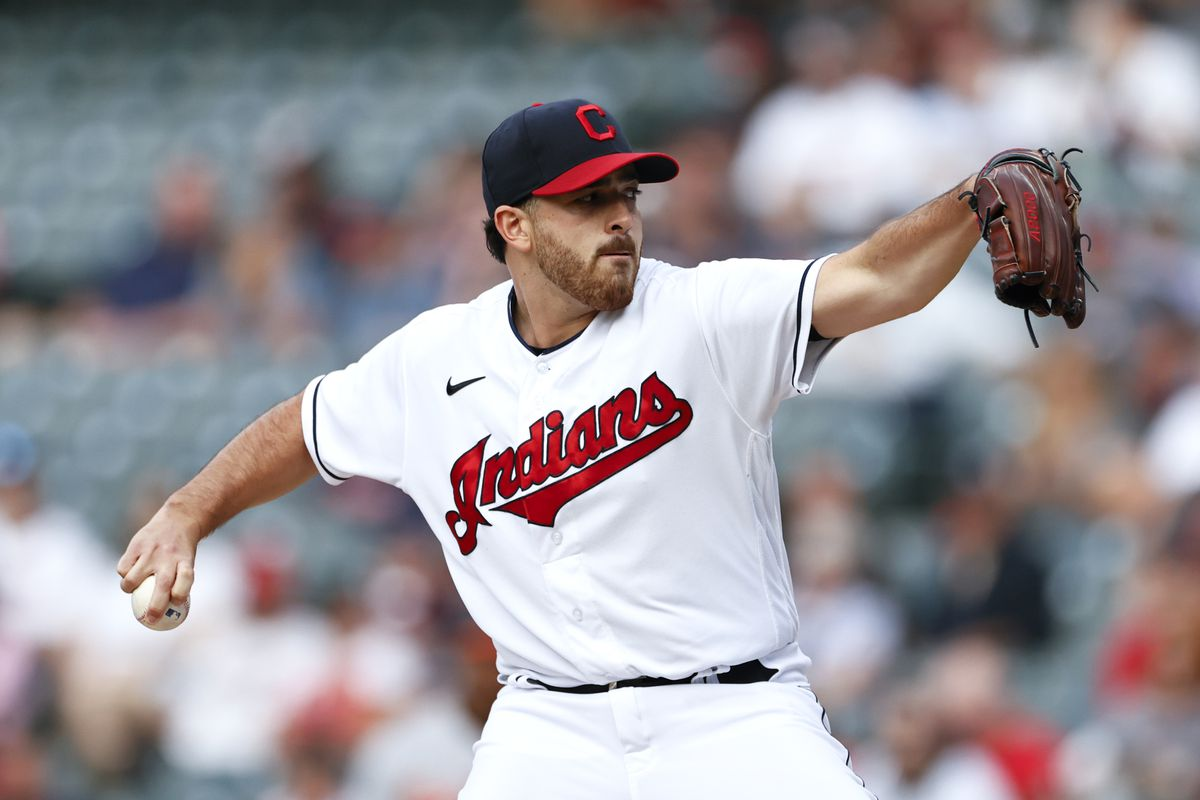 Starting pitcher Aaron Civale of the Cleveland Indians pitches against the Baltimore Orioles during the first inning at Progressive Field on June 16, 2021 in Cleveland, Ohio.