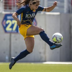 Utah Royals FC defender Michelle Maemone (19) controls the ball as the Utah Royals and Sky Blue play in the National Women's Soccer League Challenge Cup at Zions Bank stadium in Herriman on Saturday, July 4, 2020. Utah won 1-0.